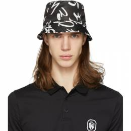 Neil Barrett Black Graffiti Bucket Hat PBCP 215E N9501