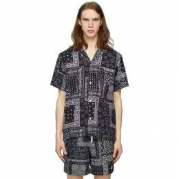 Black Bandana Camp Shirt Bather GEOMETRIC BANDANA PAT