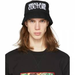 Versace Jeans Couture Black Embroidered Logo Bucket Hat EE8GVBK06 E65021