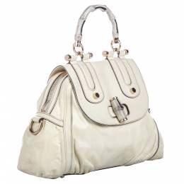 Gucci White Leather Bamboo Dialux Pop Satchel Bag 281545