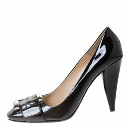 Prada Black/Grey Ombre Patent Leather Buckle Detail Pumps Size 39 285957