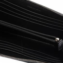 Dior Black Patent Leather Diorissimo Zip Around Wallet 285634
