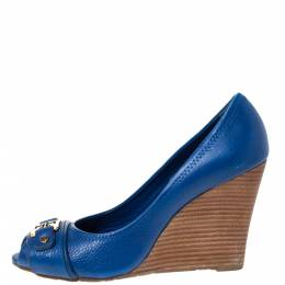 Tory Burch Blue Leather Caroline Scrunch Wedge Peep Toe Pumps Size 38.5 286043