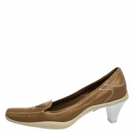 Prada Sport Brown Embroidered Leather Loafers Pumps Size 34.5 286253
