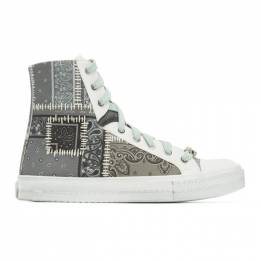 Amiri Grey Bandana Reconstructed Sunset High-Top Sneakers Y0F22498CC