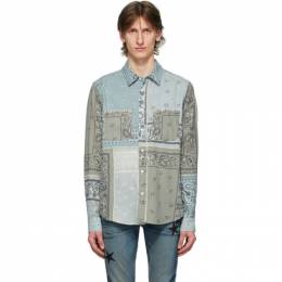 Amiri Green Flannel Bandana Reconstructed Shirt Y0M06472PD