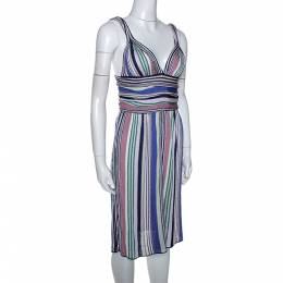 Missoni Multicolor Striped Lurex Knit Sleeveless Dress M 286044