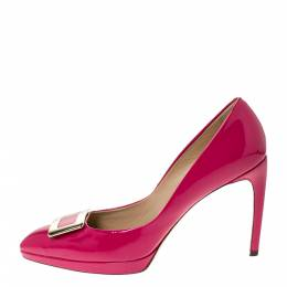 Roger Vivier Fuchsia Patent Leather Buckle Pumps Size 39 286061