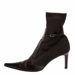 Sergio Rossi Dark Brown Leather and Mesh Pointed Toe Ankle Boots Size 40 286301