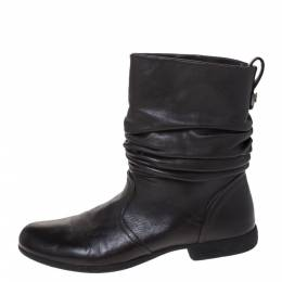 Loriblu Dark Brown Leather Pleated Ankle Boots Size 39 286374