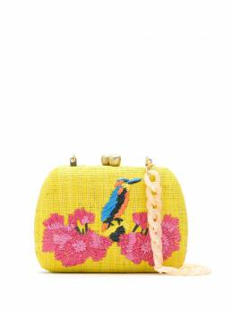 Serpui embroidered raffia clutch 8226LOLITABIRDWITHFLOWEREMB