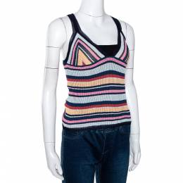 Missoni Multicolor Striped Rib Knit V Neck Tank Top M 286442