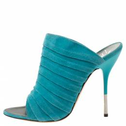 Giuseppe Zanotti Turquoise Green Suede Open Toe Mule Sandals Size 39 287488
