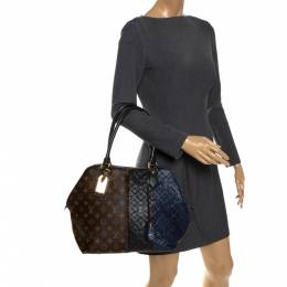 Louis Vuitton Brown/Marine Monogram Canvas and Leather Limited Edition Blocks Zipped Bag 287739
