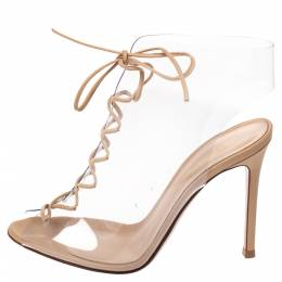 Gianvito Rossi Beige PVC And Leather Helmut Lace Up Boots Size 35.5 287566