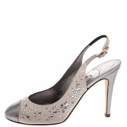 Metallic Silver Satin and Leather Crystal Embellished Slingback Sandals Size 37.5 287761 Gina