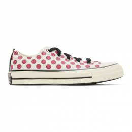 Converse Off-White and Pink Happy Camper Chuck 70 OX Sneakers 167645C