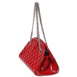 Chanel Red Matelasse Patent Leather Small Mademoiselle Bowling Bag 287834
