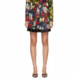 Versace SSENSE Exclusive Multicolor Silk Floral Mini Pleated Skirt A79448 A234334