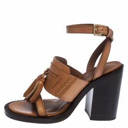 Burberry Brown Leather Bethany Tassel Detail Block Heel Sandals Size 37 281435