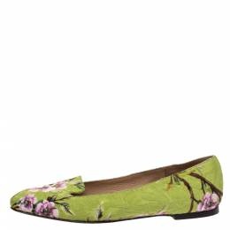 Dolce and Gabbana Multicolor Floral Print Brocade Flat Smoking Slippers Size 37 289509