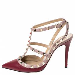 Valentino Red Leather Studded Strappy Pointed Toe Sandals Size 37 289457
