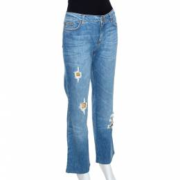 Roberto Cavalli Blue Distressed Denim Embellished Patch Jeans M 289541