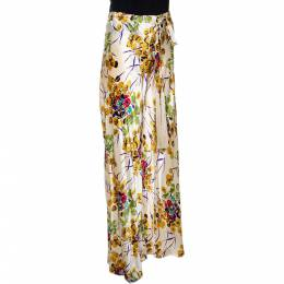 Roberto Cavalli Cream Floral Shimmer Print Silk Flared Pants M 289773