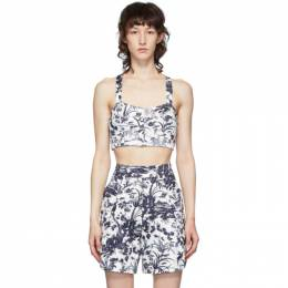 Erdem White and Navy Abril Bustier Crop Tank Top SS20_5934FJTG