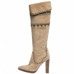 Hermes Beige Suede Embroidery Detail Knee High Boots Size 38 290686
