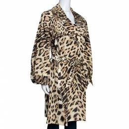 Roberto Cavalli Beige Leopard Printed Cotton Blend Belted Trench Coat M 289963
