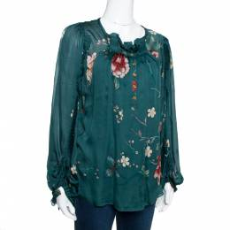 Roberto Cavalli	 Dark Green Floral Printed Chiffon Pleated Detail Blouse M 290064