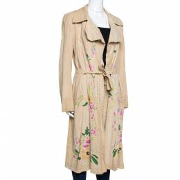 Roberto Cavalli Beige Suede Floral Painted Effect Belted Mid Length Coat M 289680