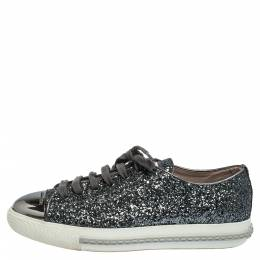 Miu Miu Metallic Grey Glitter And Metal Cap Toe Low Top Sneakers Size 37 290907