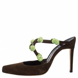 Manolo Blahnik Brown Suede And Green Rose Embellished Pointed Toe Mules Size 37 290772