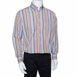 Burberry Multicolor Striped Cotton Button Down Long Sleeve Shirt M 290410