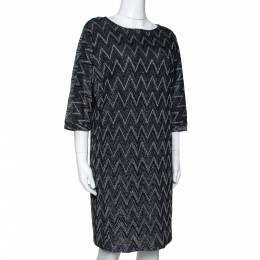 M Missoni Monochrome Chevron Lurex Knit Shift Dress S 290616