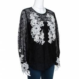 Oscar de la Renta Black & White Floral Lace Long Sleeve Blouse L 290475