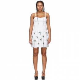 White Embroidered Smocked Bustier Tunic Dress C002.3114 Marina Moscone