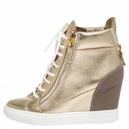 Giuseppe Zanotti Gold Leather High Top Wedge Sneakers Size 37 290919