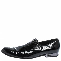 Gucci Black Patent Leather Smoking Slippers Size 42 291172