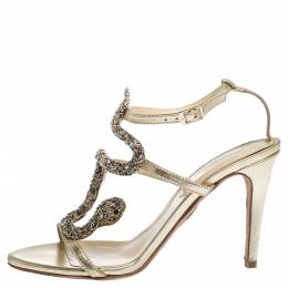 Roberto Cavalli Metallic Leather And Snake Detail Strappy Sandals Size 37.5 291093