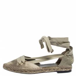 Castaner By Manolo Blahnik Grey Satin And Canvas Espadrille Pointed Toe Ankle Tie Flat Sandals Size 37 291128