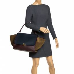 Celine Tricolor Leather and Suede Large Trapeze Top Handle Bag 291066