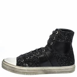Amiri Black Glitter and Leather Vintage Sunset High Top Sneakers Size 42 291193