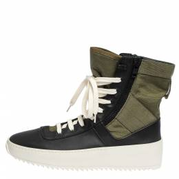 Fear Of God Green/Black Leather and Canvas Jungle High Top Sneakers Size 41 291169