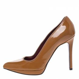 Lanvin Yellow Ochre Patent Leather Pointed Toe Platform Pumps Size 39 291146