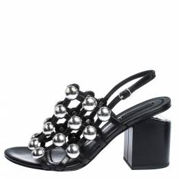 Alexander Wang Black Leather Dome Studded Nadia Sandals Size 39.5 291413