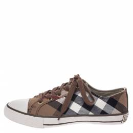 Burberry	 Multicolor Check Canvas And Rubber Cap Toe Sneakers Size 39 291179