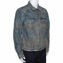 John Elliott Blue Rustic Distressed Denim Terrain Jacket XL 291670